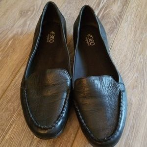 EUC black leather loafers